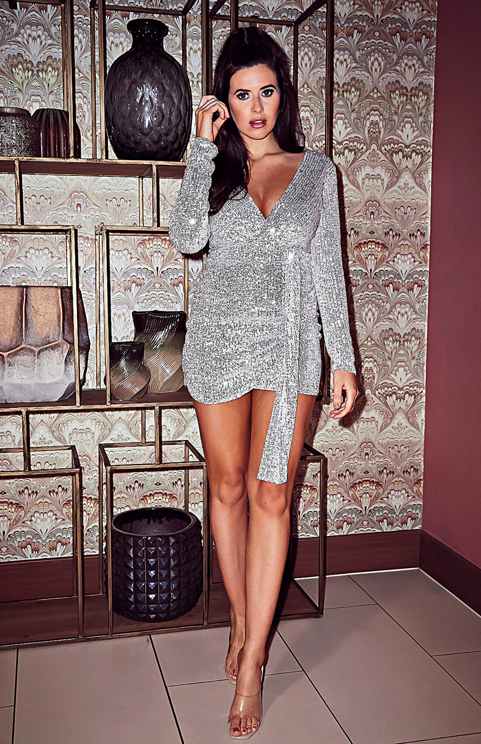 Sequins Long Sleeve Tight Waist Bodycon Mini Dress