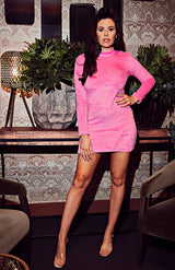 Pink Bodycon Long Sleeve Mini Fleece Dress