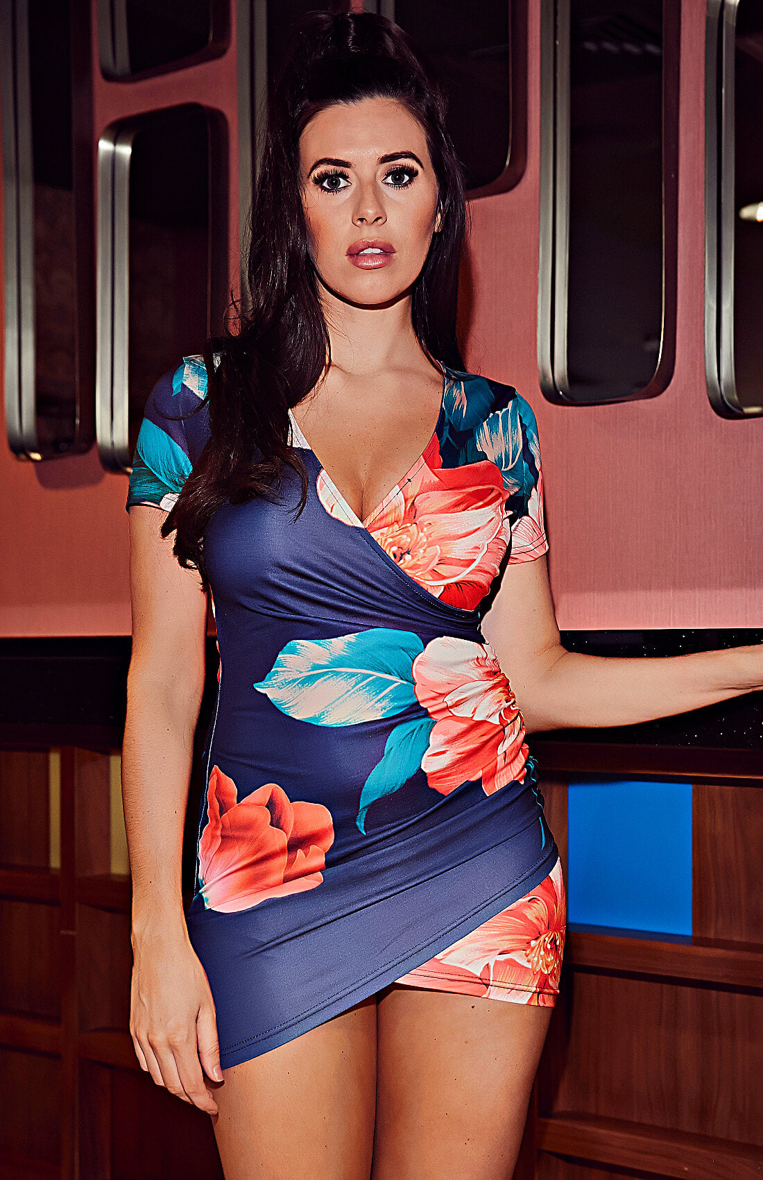 Blue Floral Print Surplice Wrap Bodycon Mini Dress
