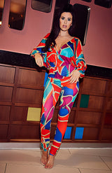 Colorblock Print Plunge Long Sleeve Deep V Neck Jumpsuit
