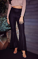 Black Snake Effect Wide Flare Trousers