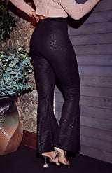 Black Wide Ribbed Flare Trousers