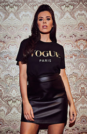 T-Shirt oversize con slogan color oro Vogue nero