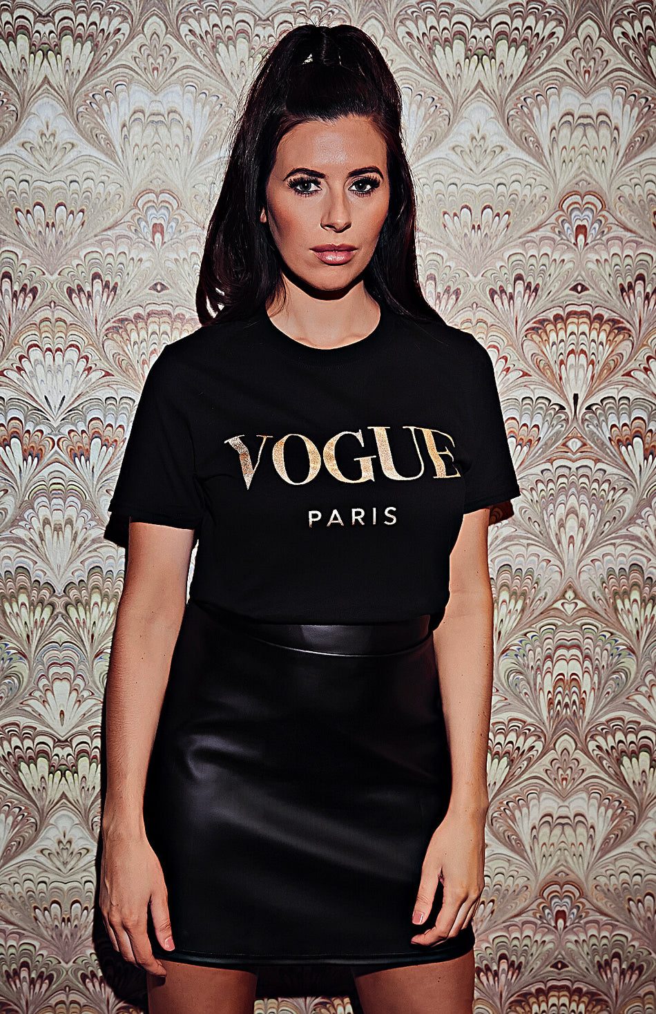 T-shirt oversize noir à slogan couleur or Vogue
