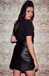 Black Faux Leather A Line Skirt
