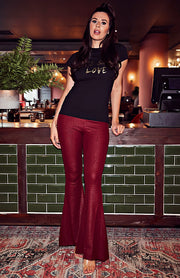 Wine Wide Croc Effect Flare Trousers