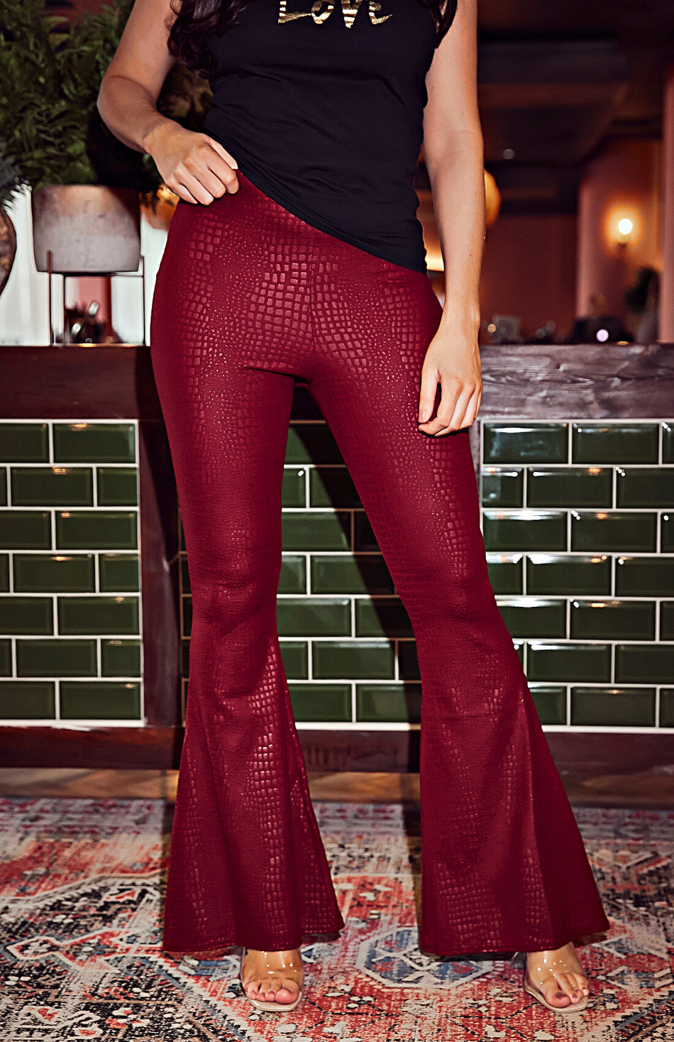 Rust Red Wide Ribbed Flare Trousers