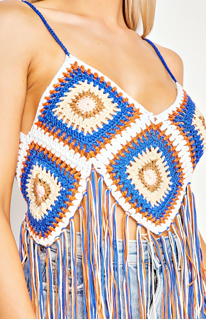 Multi Coloured Crochet Fringe Detail Crop Top
