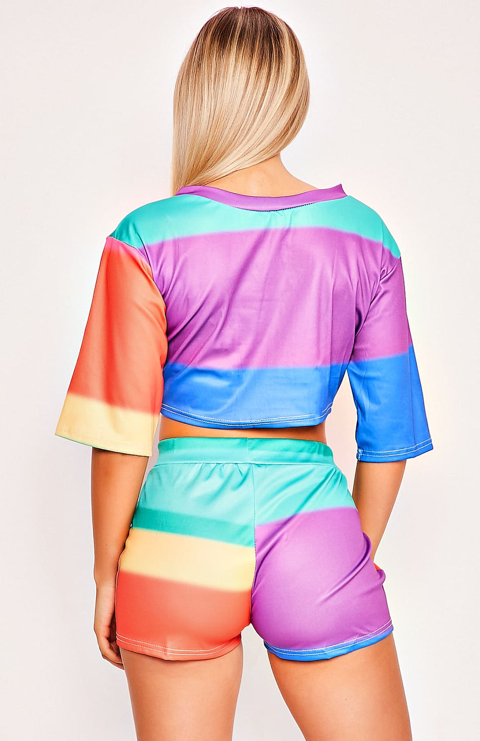 Multi Coloured Crop Top & Shorts Playsuit