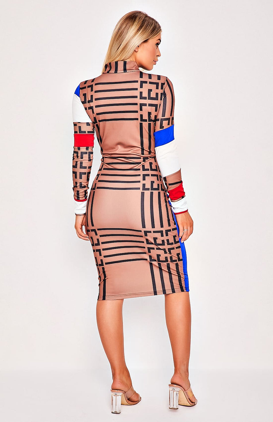 Multi Print Front Zip Midi Dress