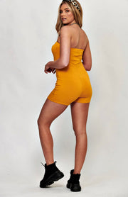 Mustard Bandeau Stretch Bodycon Macacão