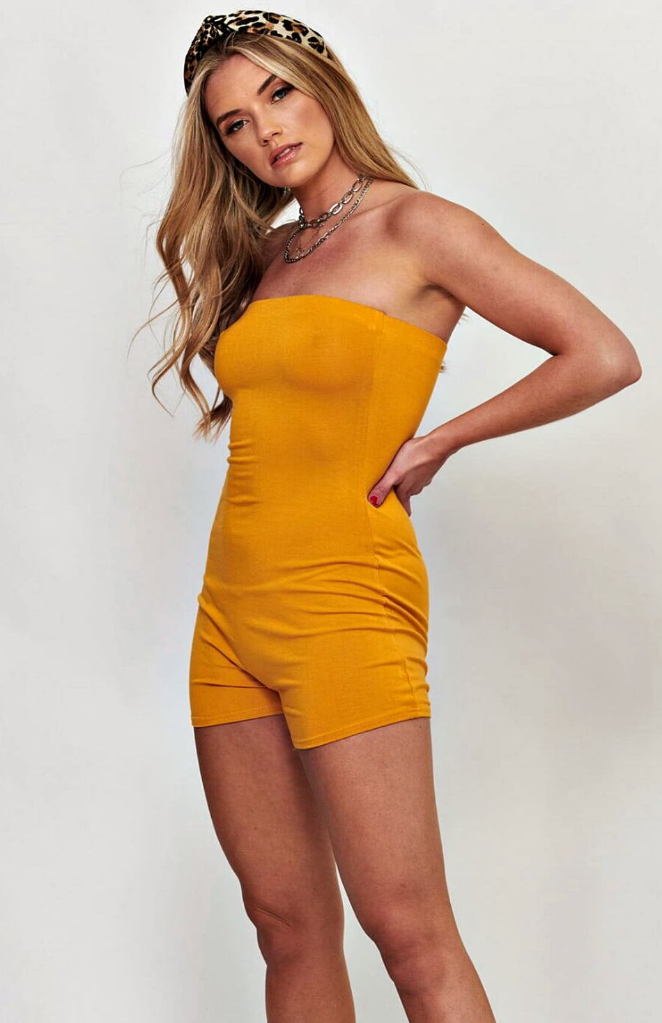 Mustard Bandeau Stretch Bodycon Playsuit
