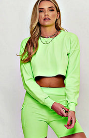 Neon Green Crop Top And Cycle Short Set