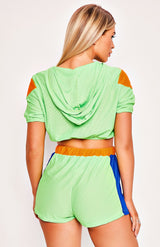 Neon Green Hooded Jacket & Shorts Two Piece Playsuit