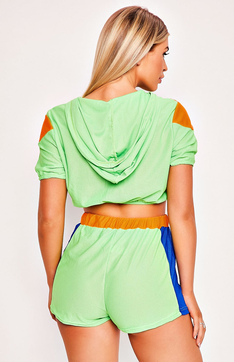 Neon Green Hooded Jacket & Shorts Two Piece Set