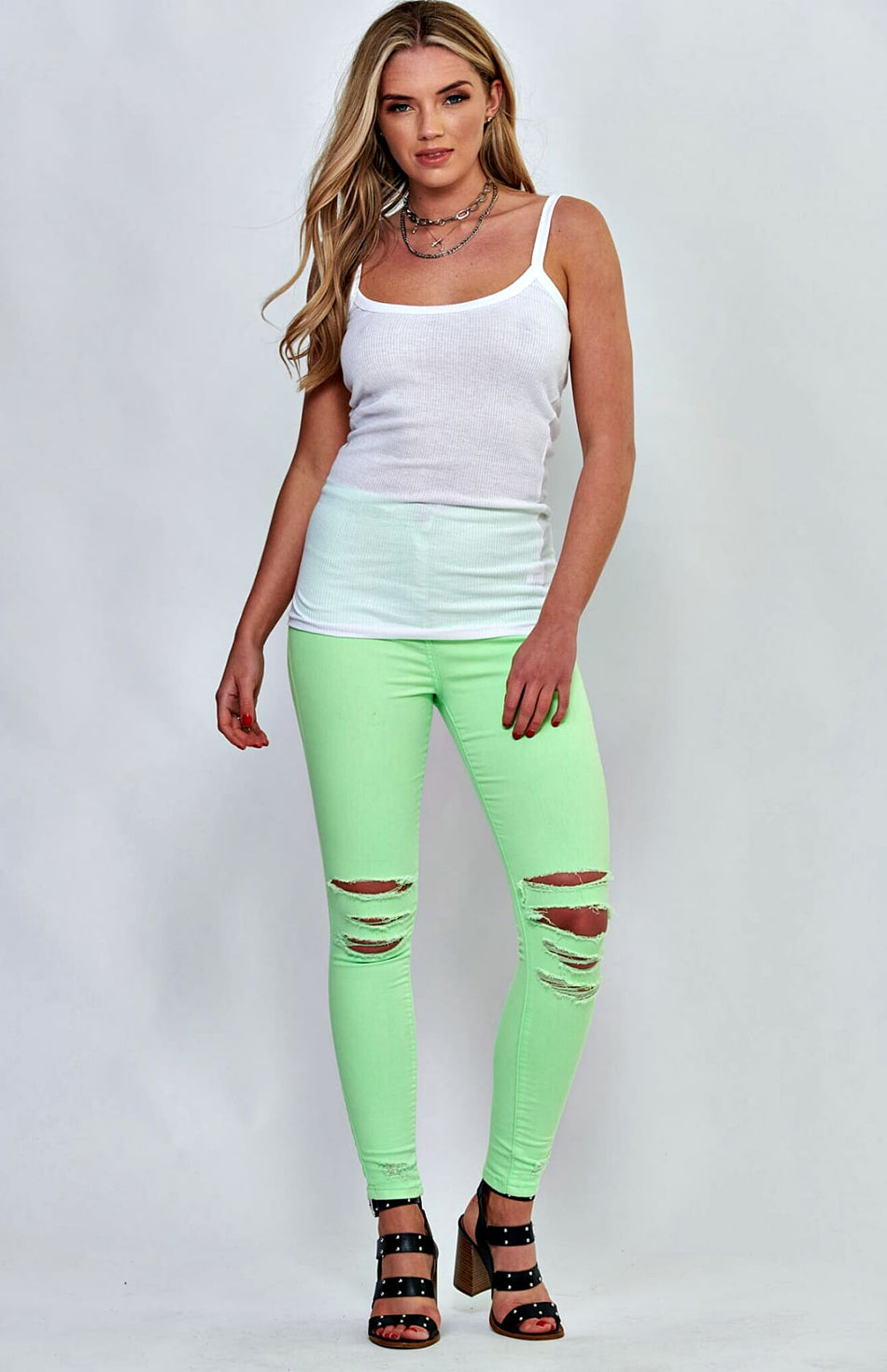 Neon Green Multi Slash High Waist Skinny Jeans