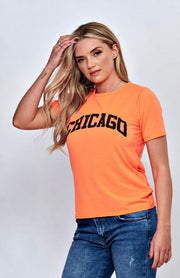 T-shirt orange fluo à imprimé Chicago