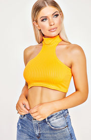Neon Orange Rib Knit Cut Away Front Crop Top