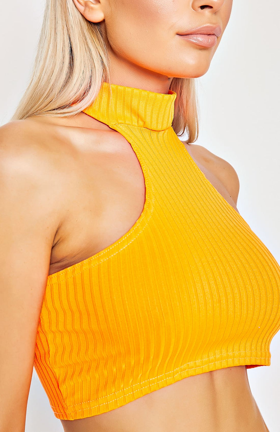 Neon Orange Rib Knit Cut Away vorne bauchfreies Oberteil