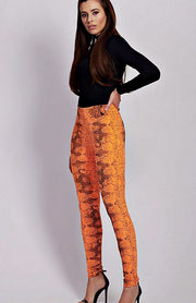 Neon Orange Snake Print Leggings