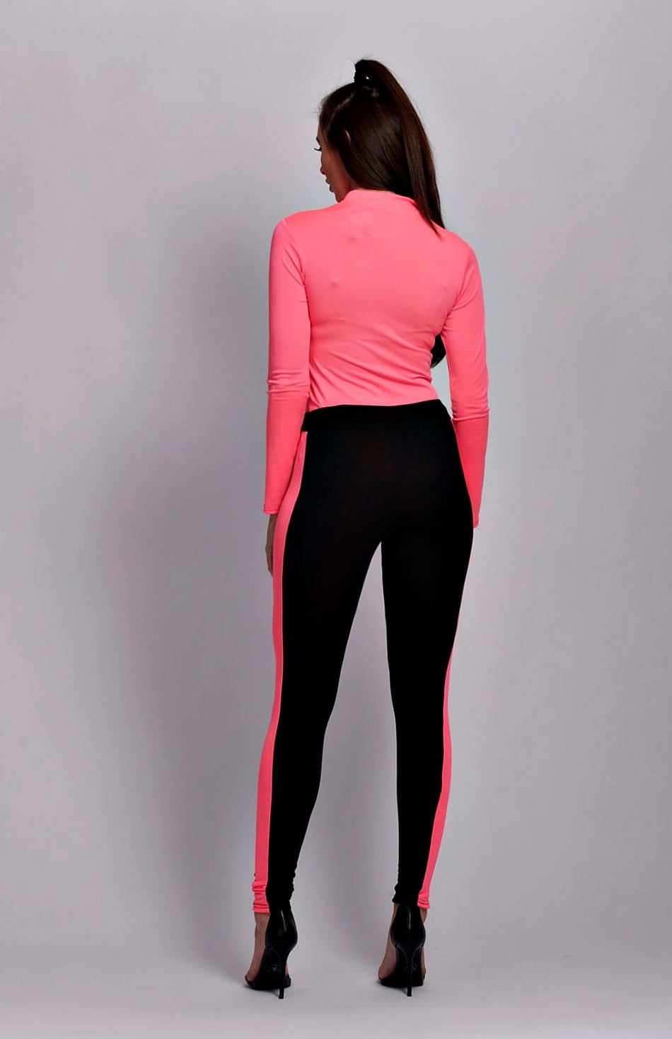 Neon Pink Side Stripe Leggings mit hoher Taille