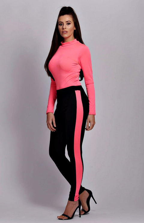 Neon Pink Side Stripe High Waist Leggings