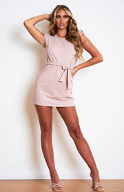 Pink Nude Paddeed Shoulder T.shirt Dress