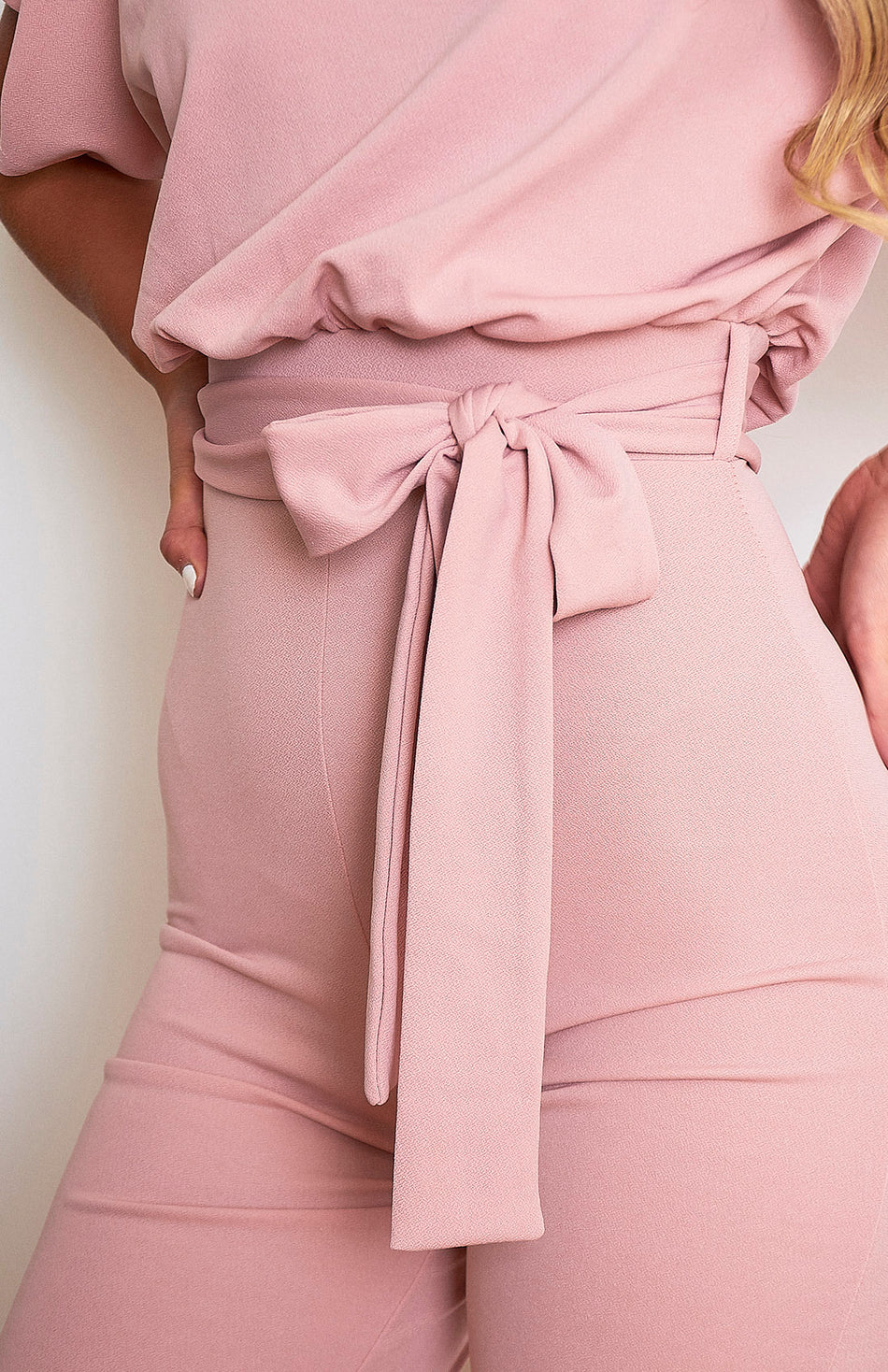 Nude Pink Belted Batwing Jumpsuit
