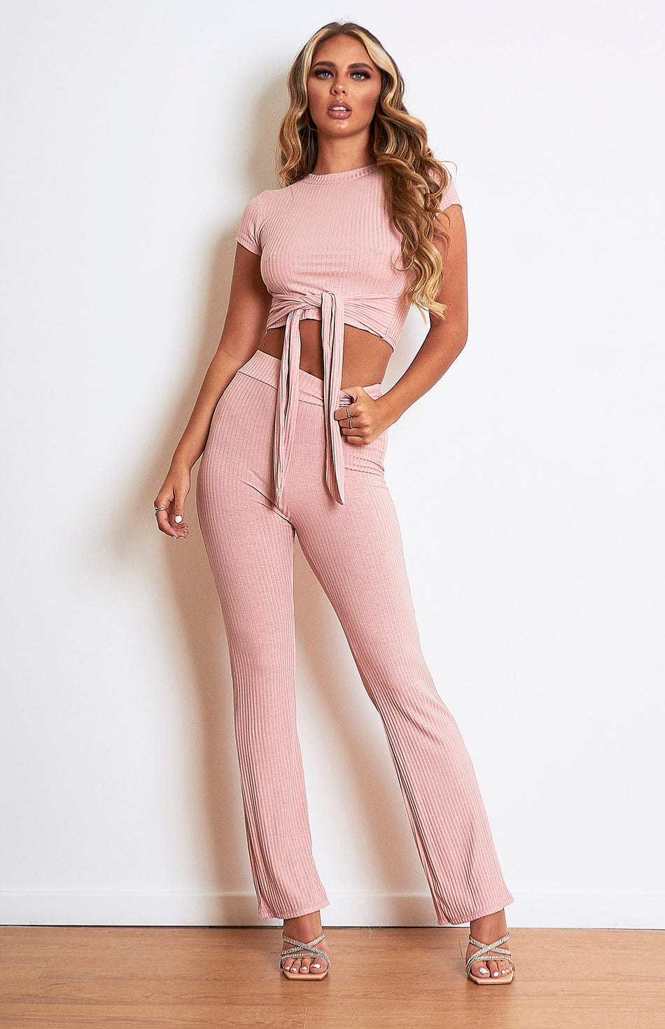 Nude Pink Ribbed Loungeweat Set
