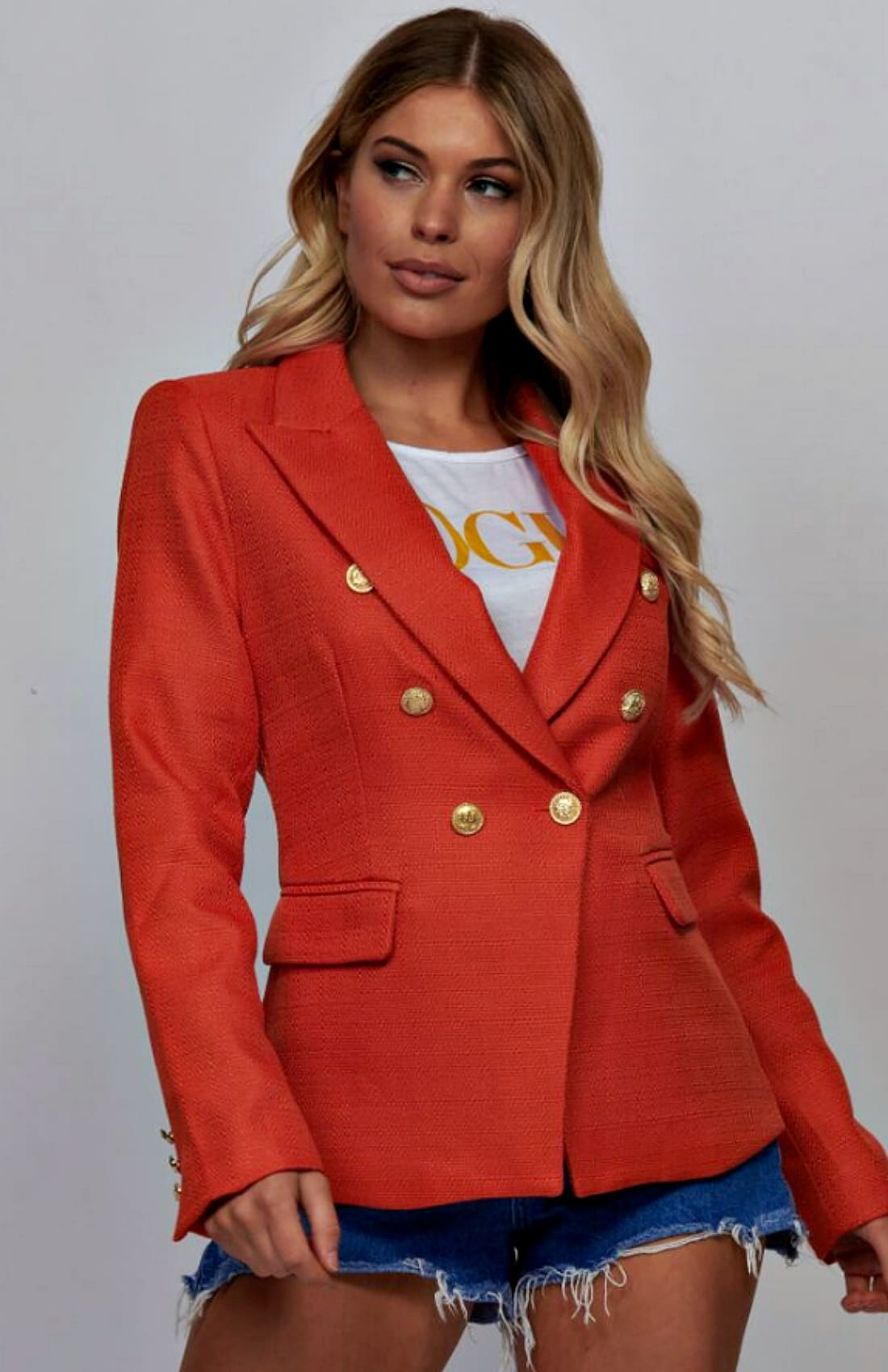 Orange Double Breasted Tweed Blazer