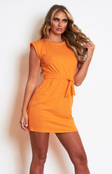 Orange Padded Shoulder Belted T.shirt Dress