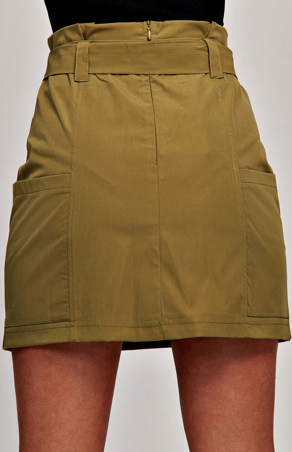 Paperbag Waist Self Belt Mini Skirt