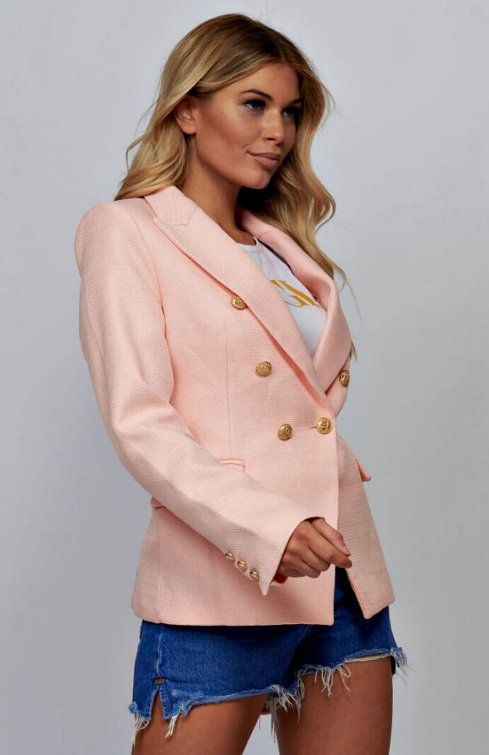 Peach Double Breasted Tweed Blazer