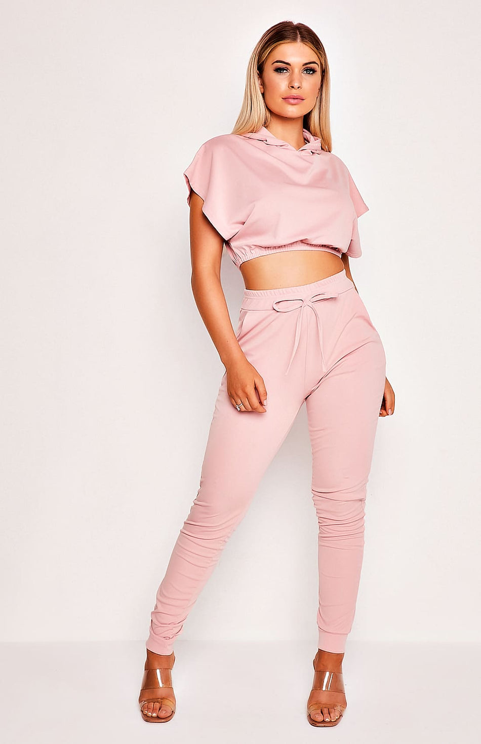 Pink Crop Top & Pants Lounge Two Piece Set