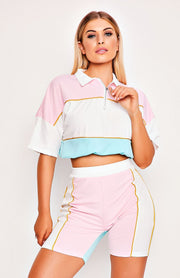 Pink Crop Top & Shorts Zip Collar Two Piece Set