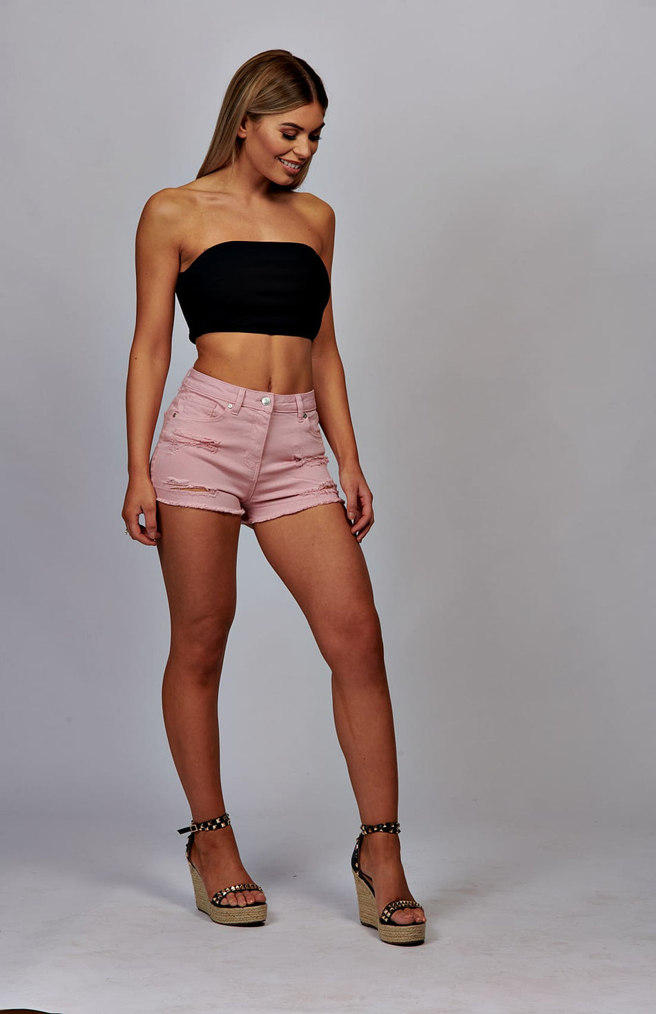 Pink Frayed Hem Denim Hot-Pants