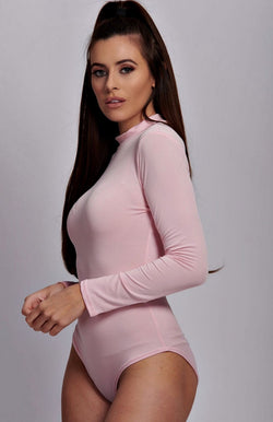 Pink High Neck Long Sleeve Bodysuit
