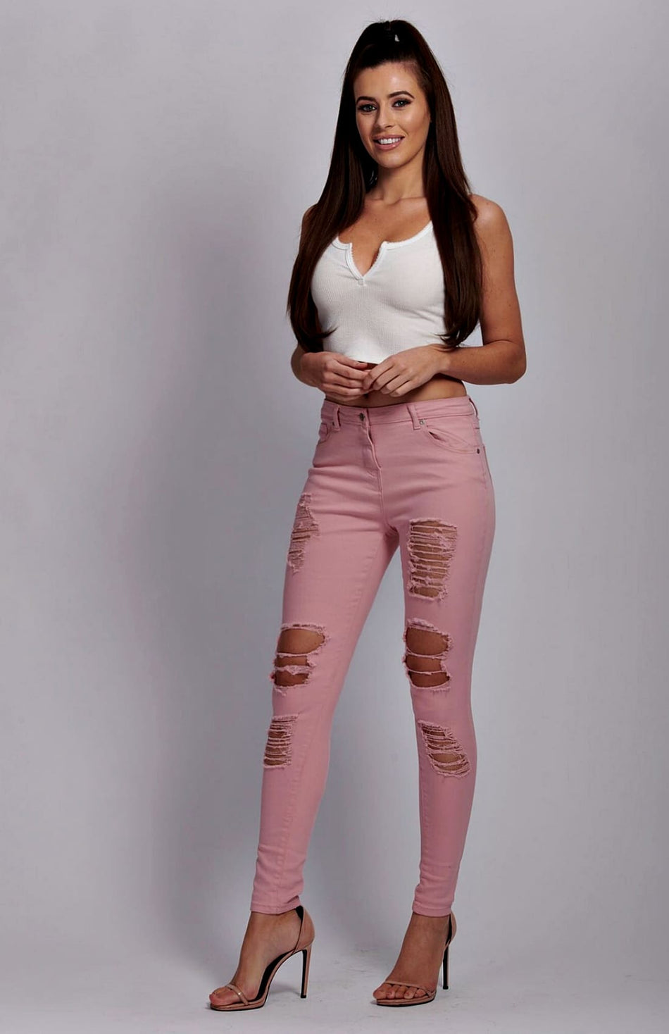 Pink High Waist Distressed Skinny Jeans