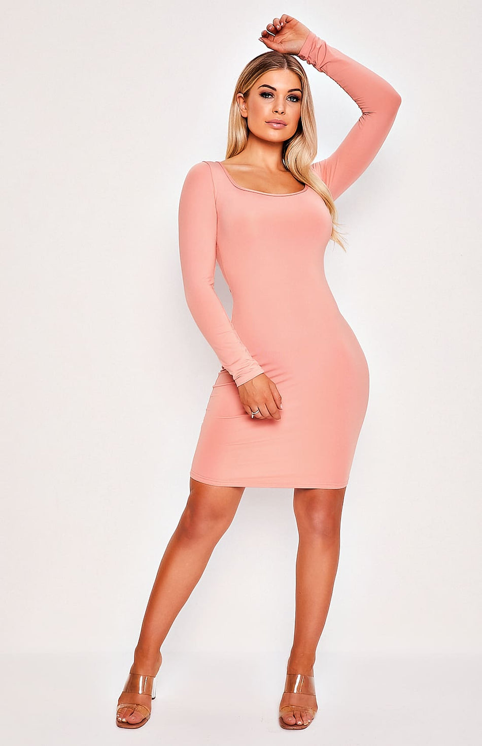 Pink Long Sleeve Scoop Neck Bodycon Dress