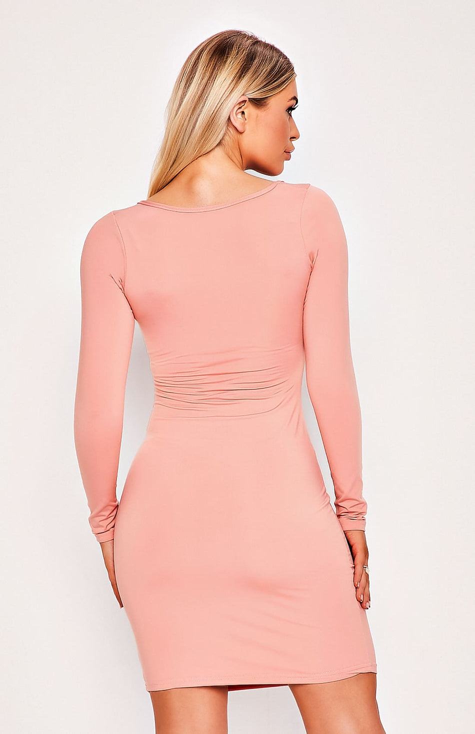 Pink Long Sleeve Plunge Bodycon Dress