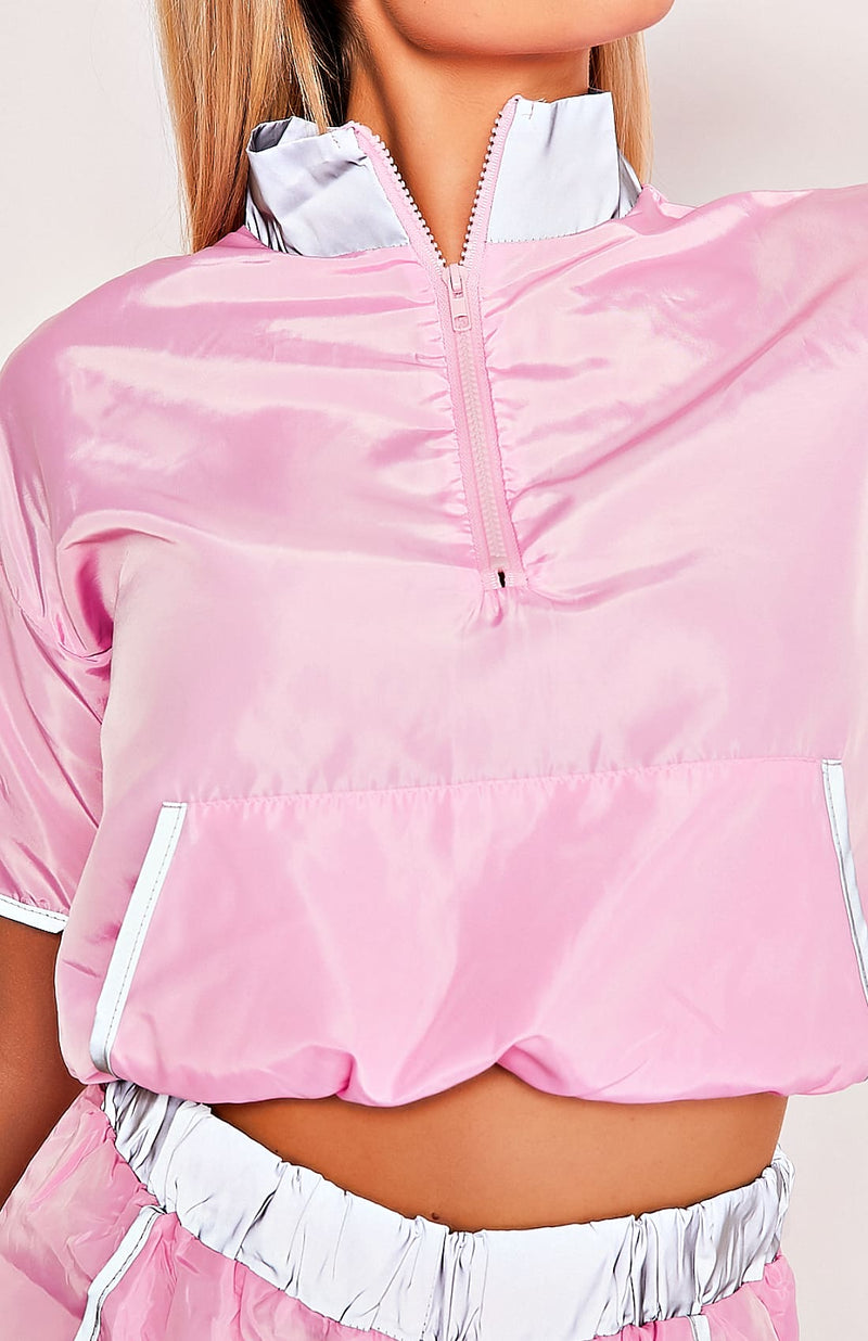 Pink Reflective Top & Shorts Two Piece Playsuit