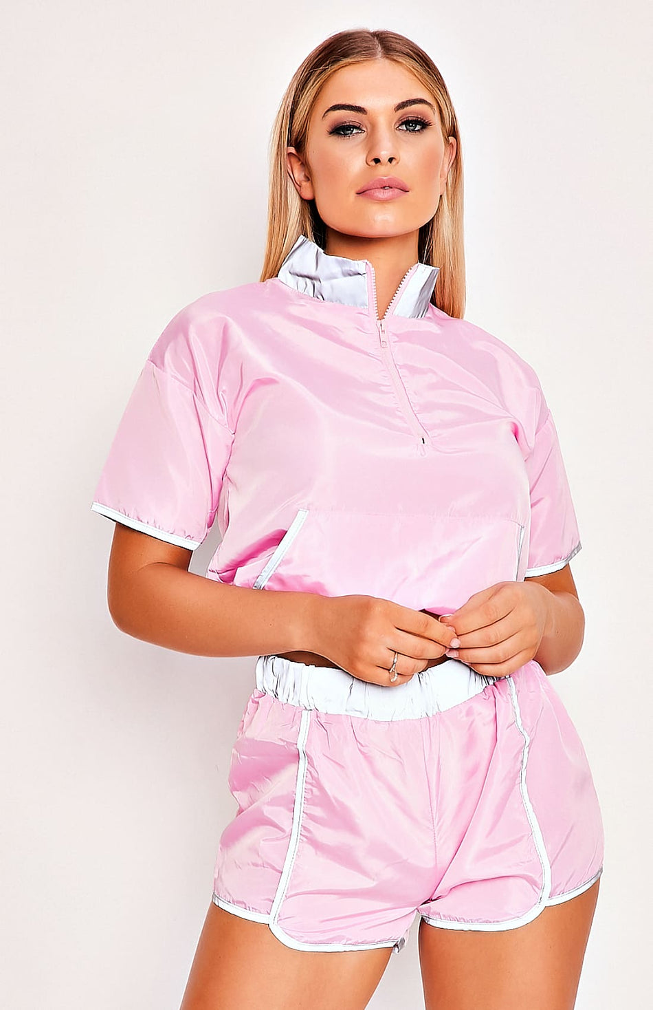 Pink Reflective Top & Shorts Two Piece Set