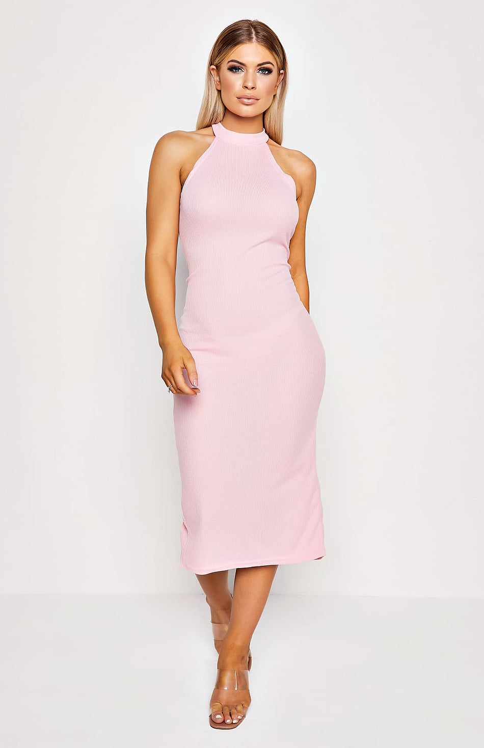 Pink Rib Knit High Neck Bodycon Midi Dress