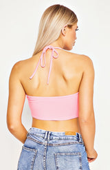 Roze ruches top met bandeau crop top
