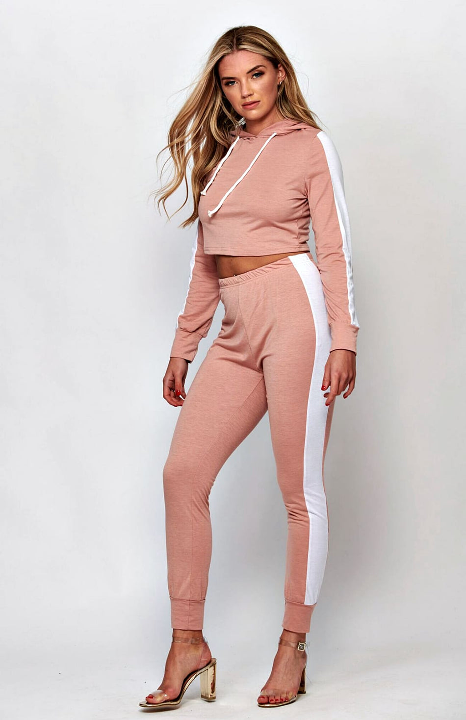 Pink Side Striped Cropped Tracksuit