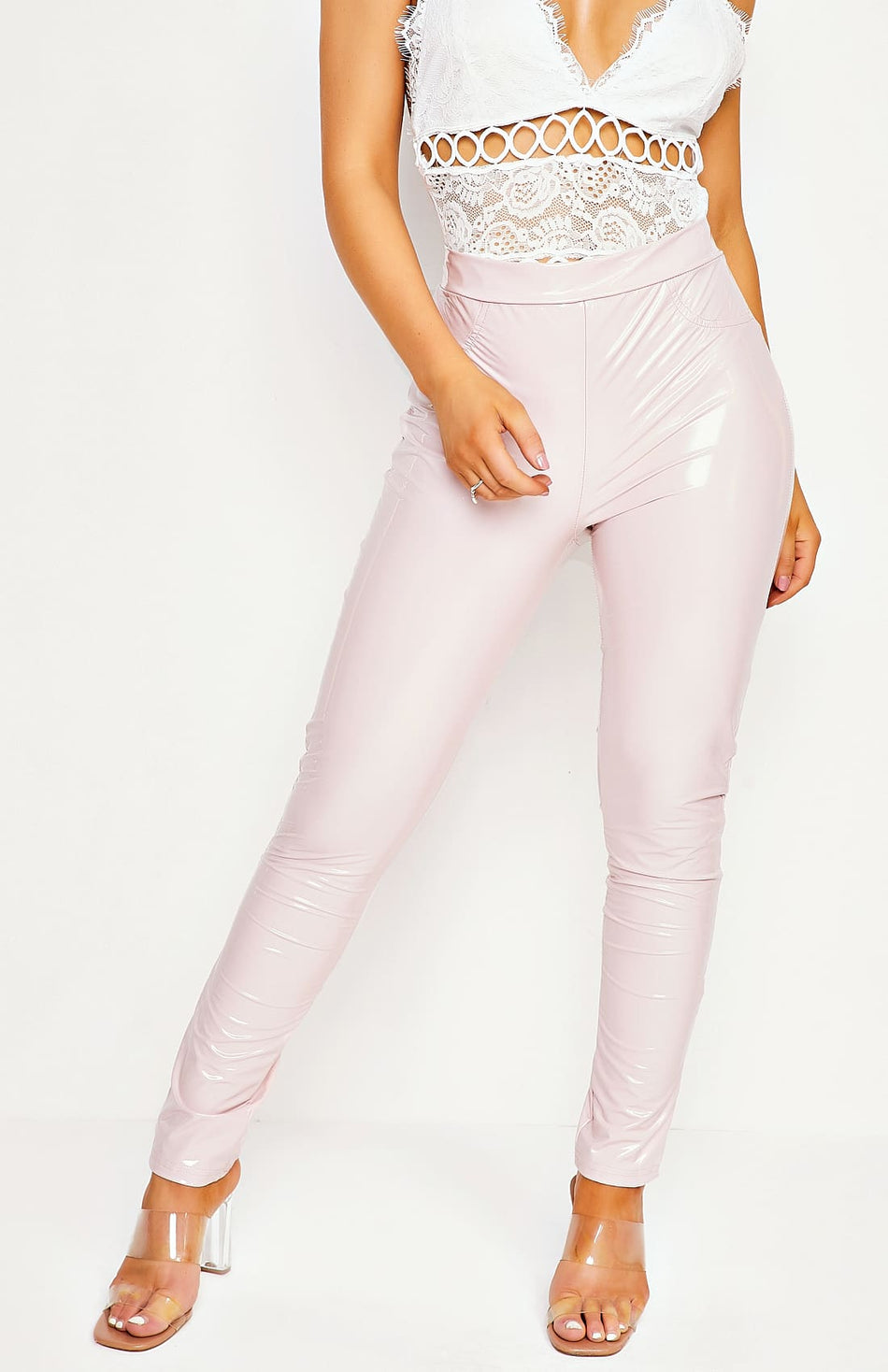 Roze wetlook hoge taille Jeggings
