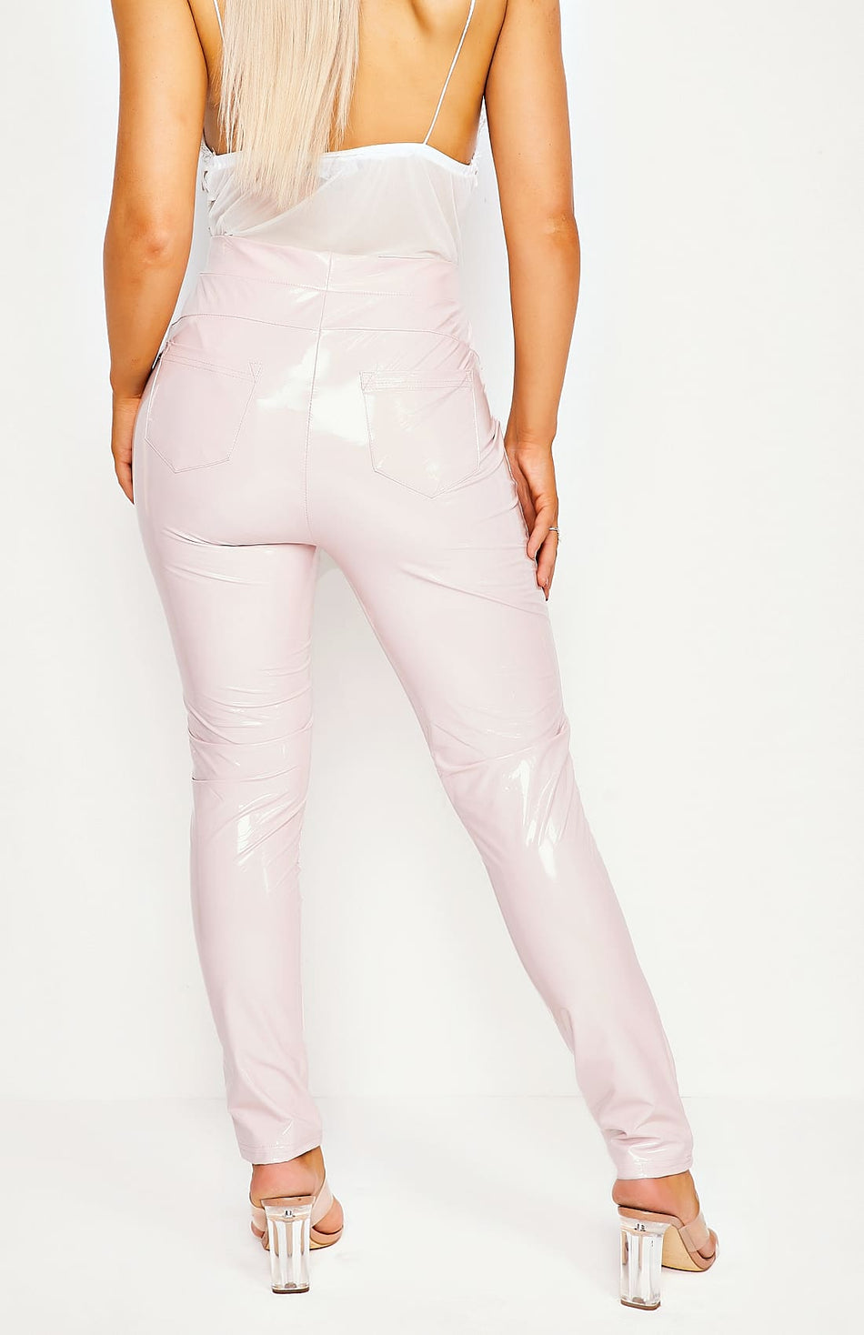 Pink Wet Look High Waist Jeggings