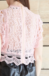 Pink Lace Cap Sleeve Blouse