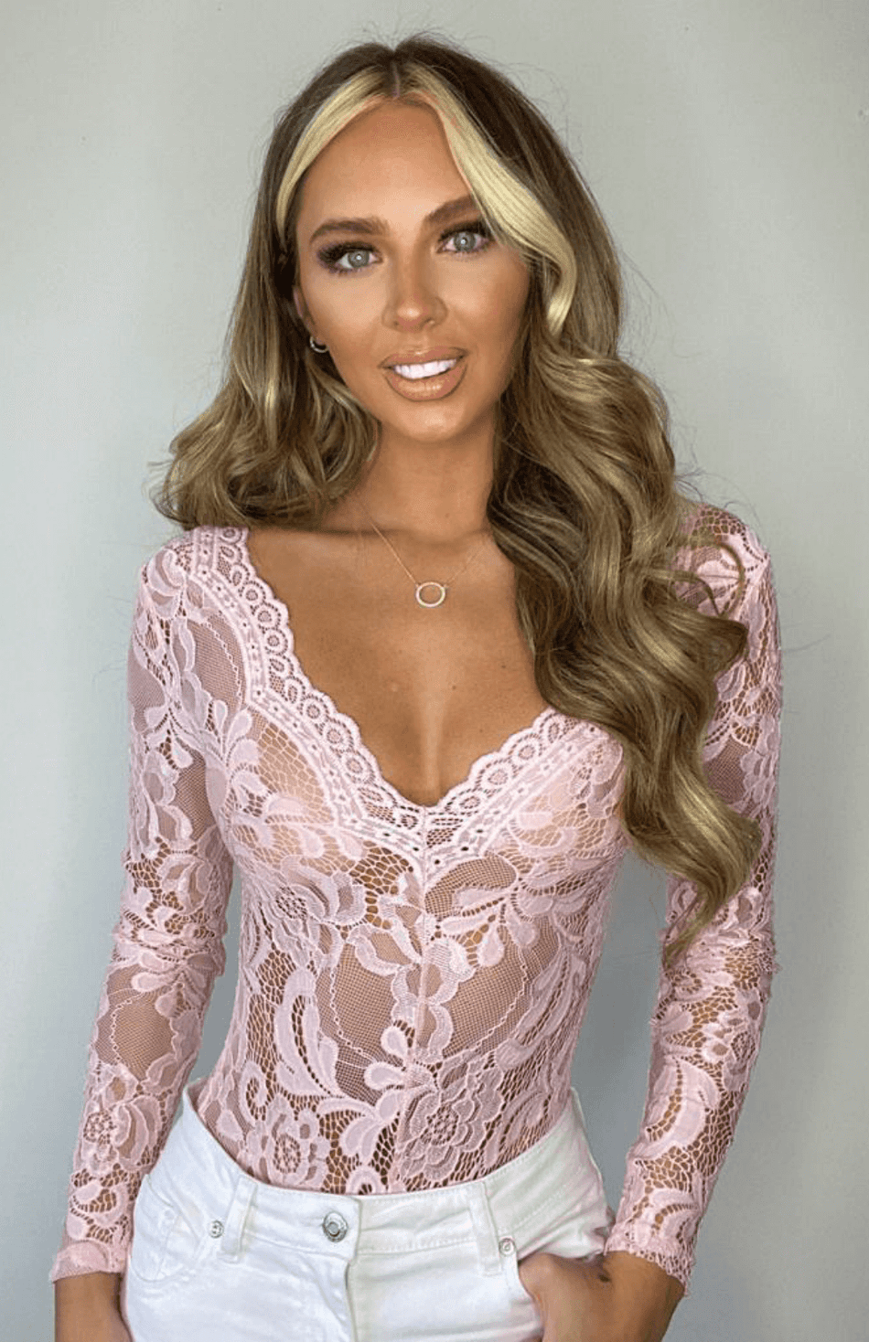 Pink Sheer Lace Long Sleeve Bodysuit