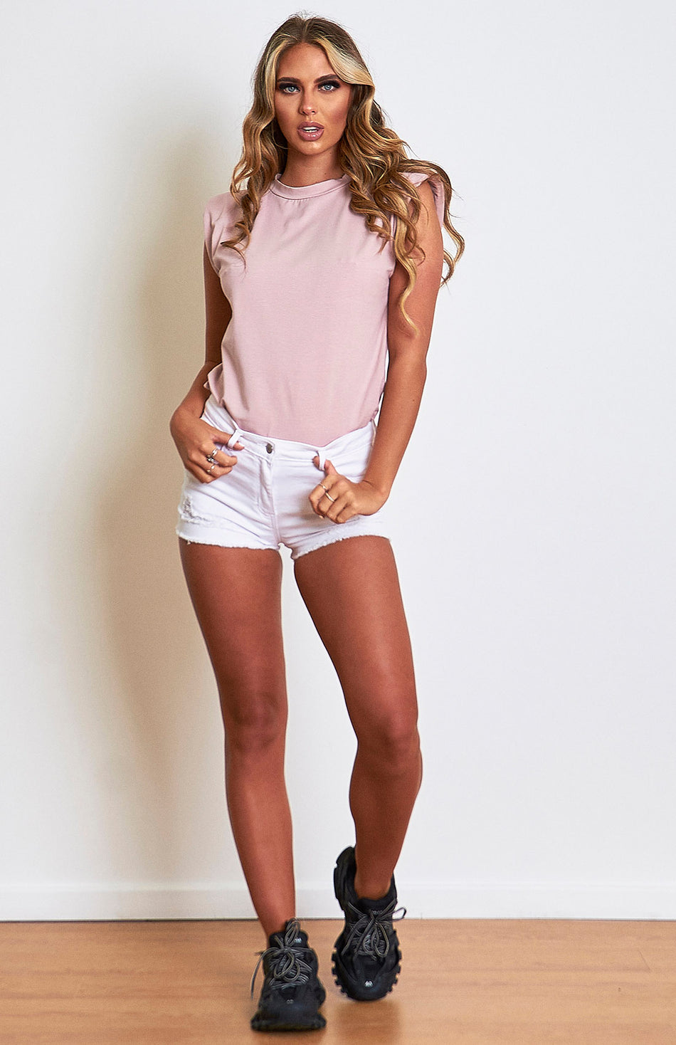 Nude Pink Padded Shoulder T.Shirt